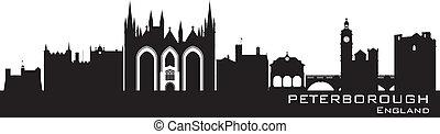 Peterborough England city skyline Detailed silhouette