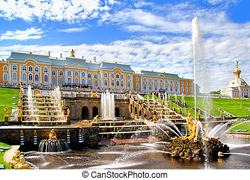 Petergof Palace, Russia - Samson Fountain of the Grand ...