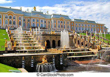 Peterhof Palace, Russia - Grand Cascade in Peterhof Palace,...