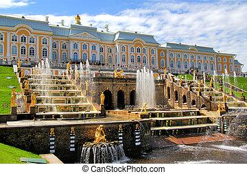Peterhof Palace, Russia - Grand Cascade in Peterhof Palace, ...