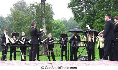 PETERHOF, RUSSIA - SEPTEMBER 5: Horns orchestra September 5,...