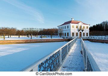 peterhof, time., parc, hiver, russie