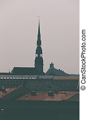 Peters Cathedral and the National Library in Riga