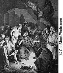 1) Le Sainte Bible: Traduction nouvelle selon la Vulgate par Mm. J.-J. Bourasse et P. Janvier. Tours: Alfred Mame et Fils. 2) 1866 3) France 4) Gustave Dor