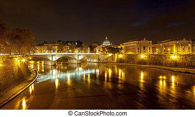 peter's, italië, straat., rome, nacht, kathedraal, aanzicht