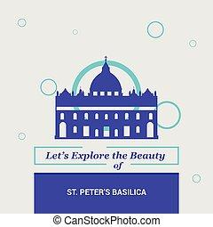 peters, italien, skönhet, medborgare, st, låt oss, utforska, basilika, milstolpar