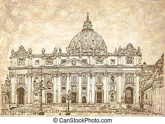 peters, italien, st., rom, vatikanen, domkyrka