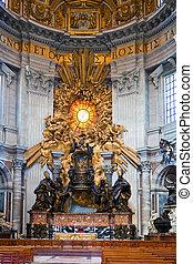 peter's, italy., rome., st, binnen, vatican., basilica., overzicht.