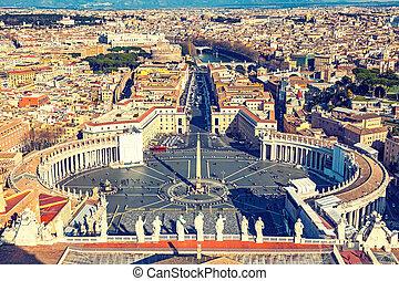peter's, luchtopnames, rome, heilige, kathedraal, aanzicht