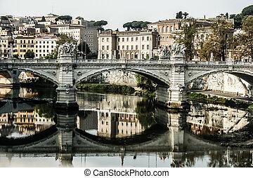 peters, rue, italie, basilique, rivière, tibra, rome