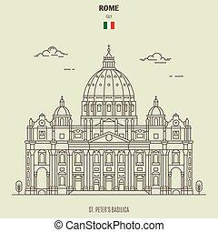 peters, st., ikon, gränsmärke, italy., basilika, rom