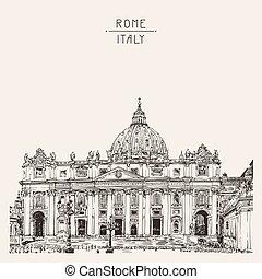 peters, st., italy., rom, hand, vatikanen, domkyrka, teckning