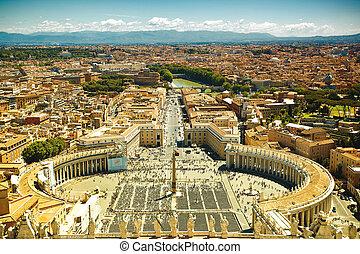 peter's, straat., beroemd, plein, vatican, aanzicht