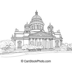 petersburg, スケッチ, 大聖堂, st. 。