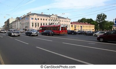 Movement of cars and public transport on Nevsky prospectus