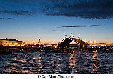 petersburg, noche, puente, s.