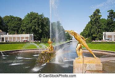 petersburg, rusia, petergof, fuentes, santo