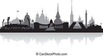 petersburg, skyline, heilige, stad, vector, silhouette