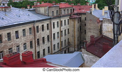 Petersburg. View from the roof. Old yard-a well.
