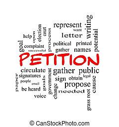 petición, palabra, nube, concepto, en, rojo, tapas