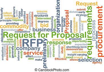 petición, para, propuesta, rfp, plano de fondo, concepto
