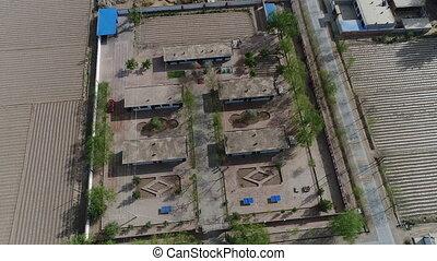 petit, école, village, cultures, pauvre, vue aérienne, milieu, sec