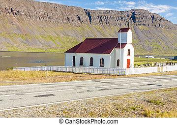 petit, église bois, dans, reykjanes, -, iceland.