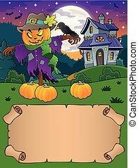 petit, épouvantail, halloween, parchemin