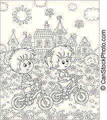 petit, équitation, bicycles, parc, enfants