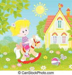 petit, équitation, cheval, jouet, girl