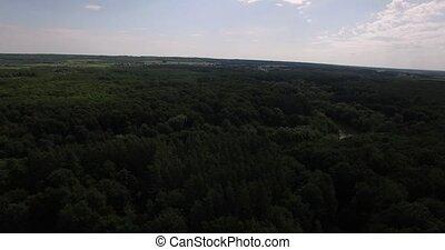 petit, été, rivière, vue aérienne