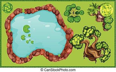 petit, étang, parc