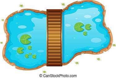 petit, étang, pont