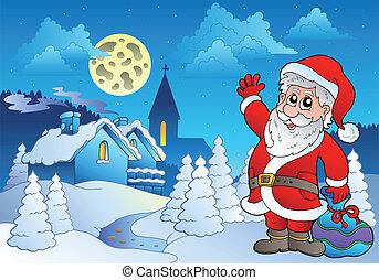 petit, 2, claus, santa, village