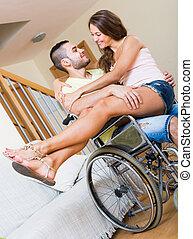 petit ami, fauteuil roulant, girl, aimer, elle