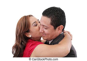 petit ami, femme, jeune, baisers, elle