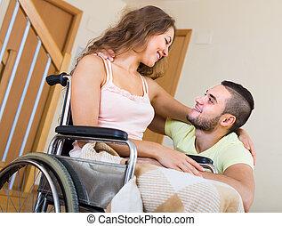 petit ami, girl, fauteuil roulant, aimer, elle