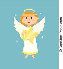 petit ange, étoile, voler, personne, vecteur, tenue
