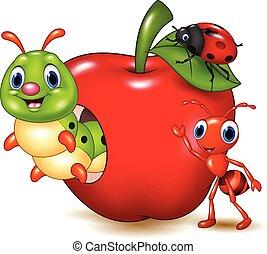 petit, animaux, pomme, rouges, dessin animé