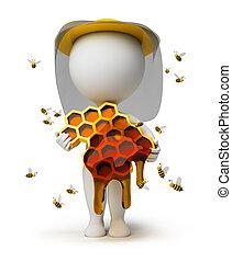 petit, apiculteur, -, 3d, gens