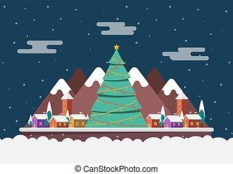 petit arbre, paysage, grand, noël, nuit, hiver, village