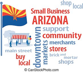 petit, arizona, drapeau, business