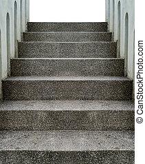 petit, béton, gravier, escalier