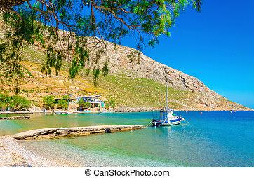 petit bateau, clair, paisible, baie, amarré, sable