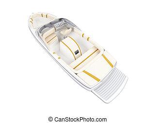 petit bateau, isolé, arrière affichage
