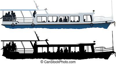 petit, bateau, touristique
