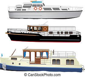 petit, bateaux, touristique