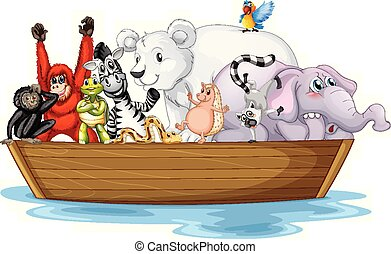petit, beaucoup, animaux, sauvage, bateau