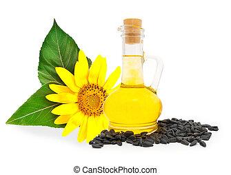 petit, bouteille, à, sunflower-seed, huile, et, graines...