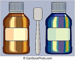 petit, bouteille médicament, modèle